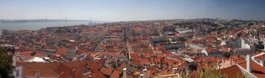 Πανοραμική εικονική παράσταση πόλης της Λισσαβώνας στοκ εικόνα με δικαίωμα ελεύθερης χρήσης