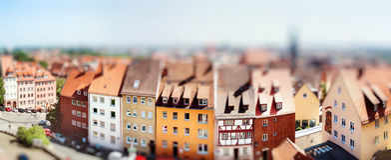 Πανοραμική εικονική παράσταση πόλης της Νυρεμβέργης, Βαυαρία, Γερμανία μικροσκοπικός στοκ εικόνα