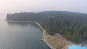 Πανοραμική εναέρια άποψη του πάρκου του Stanley με τη λίμνη στο Βανκούβερ, ασβέστιο Στοκ Εικόνα