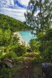Πανοραμική επισκόπηση στην παραλία anse Georgette, praslin, SE παραδείσου Στοκ εικόνα με δικαίωμα ελεύθερης χρήσης