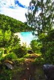 Πανοραμική επισκόπηση στην παραλία anse Georgette, praslin, SE παραδείσου Στοκ Εικόνες