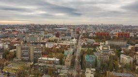 Πανοραμική θέα από τον κηφήνα του στο κέντρο της πόλης ορίζοντα στοκ φωτογραφία με δικαίωμα ελεύθερης χρήσης