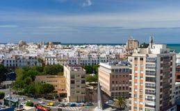 Πανοραμική θέα πέρα από την πόλη του Καντίζ, Ανδαλουσία, Ισπανία στοκ εικόνα με δικαίωμα ελεύθερης χρήσης