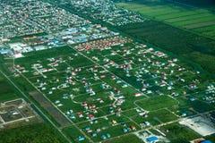 Πανοραμική θέα της κατασκευής των εξοχικών σπιτιών στα προάστια της Τζωρτζτάουν στοκ εικόνες