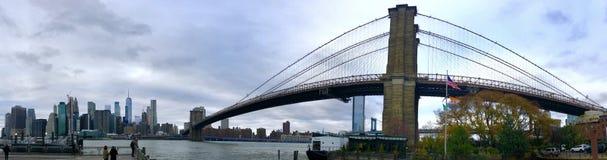 Πανοραμική πόλη της Νέας Υόρκης γεφυρών brooklin στοκ φωτογραφία με δικαίωμα ελεύθερης χρήσης