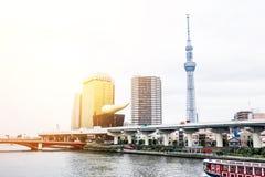 Πανοραμική σύγχρονη εναέρια άποψη ματιών πουλιών οριζόντων πόλεων με το skytree του Τόκιο κάτω από τον όμορφο νεφελώδη ουρανό στο Στοκ Εικόνα
