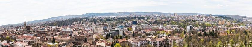 Πανοραμική υψηλή άποψη της πόλης του Cluj Napoca Στοκ Εικόνα