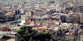 Πανοραμική φυσική άποψη του ορίζοντα της Βαρκελώνης, Ισπανία Στοκ Φωτογραφίες