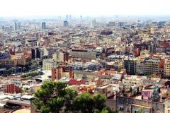 Πανοραμική φυσική άποψη του ορίζοντα της Βαρκελώνης, Ισπανία Στοκ φωτογραφίες με δικαίωμα ελεύθερης χρήσης