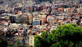 Πανοραμική φυσική άποψη του ορίζοντα της Βαρκελώνης, Ισπανία Στοκ εικόνες με δικαίωμα ελεύθερης χρήσης