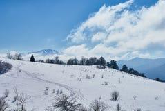 πανοραμική όψη βουνών Στο πρώτο πλάνο υπάρχει ένα χιονισμένο ξέφωτο, στη μέση ένα δάσος, σε έναν μακριά απότομο βράχο, στο τ στοκ εικόνα