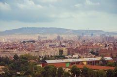 πανοραμική όψη πόλεων της Βαρκελώνης Στοκ Εικόνες