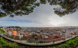 Πανοραμική όψη της Λισσαβώνας Στοκ εικόνα με δικαίωμα ελεύθερης χρήσης