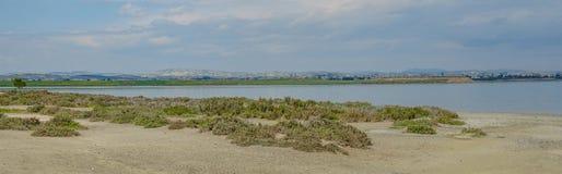 Πανοραμικός πυροβολισμός της αλατισμένης λίμνης σε Larnaka στοκ φωτογραφία με δικαίωμα ελεύθερης χρήσης