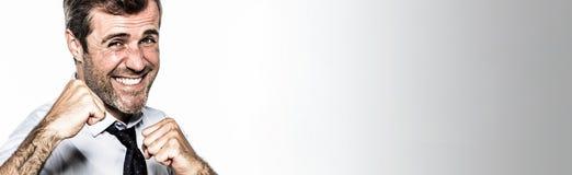 Πανοραμικό έμβλημα για τον εταιρικό ανταγωνισμό διασκέδασης διαχείρισης επιχειρηματιών χαμόγελου Στοκ Εικόνα