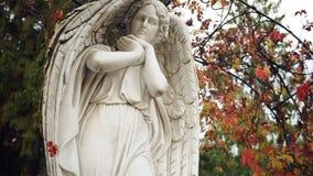 Πανοραμικό βίντεο του μαρμάρινου αγάλματος ενός αγγέλου απόθεμα βίντεο