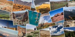 Πανοραμικό κολάζ των φωτογραφιών της φύσης Καζακστάν Τοπίο του μ Στοκ εικόνα με δικαίωμα ελεύθερης χρήσης