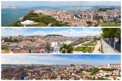 Πανοραμικό κολάζ μωσαϊκών εικόνων των απόψεων πόλεων της Λισσαβώνας - Mi στοκ φωτογραφία