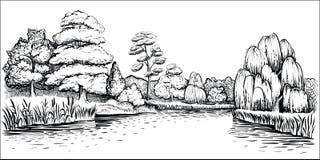Πανοραμικό τοπίο με τα δέντρα και τον ποταμό, διανυσματική συρμένη χέρι απεικόνιση Στοκ Εικόνες