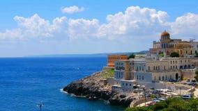 Πανοραμικό χωριό Lecce Apulia Santa Cesarea Terme τοπίων Salento απόθεμα βίντεο