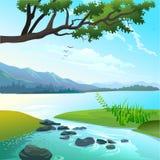 Πανοραμικό lanscape της λίμνης και του ποταμού Διανυσματική απεικόνιση