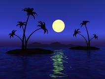 Πανσέληνος στον ωκεανό και το νησί ερήμων με τους φοίνικες Στοκ Εικόνες