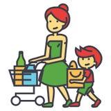 Παντοπωλείο αγορών, μητέρα με το γιο και κάρρο αγορών, λιανική έννοια απεικόνιση αποθεμάτων