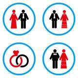 Παντρεμένα στρογγυλευμένα πρόσωπα διανυσματικά εικονίδια Στοκ Φωτογραφίες