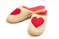 Παντόφλες με τις καρδιές Στοκ εικόνα με δικαίωμα ελεύθερης χρήσης