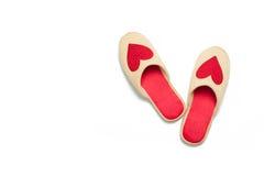 Παντόφλες με τις καρδιές Στοκ Φωτογραφία