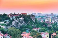 Πανόραμα ανατολής της πόλης Plovdiv, Βουλγαρία Στοκ φωτογραφίες με δικαίωμα ελεύθερης χρήσης