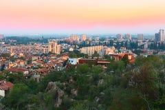 Πανόραμα ανατολής της πόλης Plovdiv, Βουλγαρία Στοκ Εικόνες