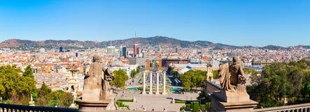 Πανόραμα από το βουνό Montjuic Άποψη στο τετράγωνο της Ισπανίας Βαρκελώνη Στοκ φωτογραφίες με δικαίωμα ελεύθερης χρήσης