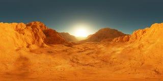 πανόραμα 360 βαθμού του ηλιοβασιλέματος του Άρη, χάρτης περιβάλλοντος HDRI Προβολή Equirectangular, σφαιρικό πανόραμα Αριανό τοπί απεικόνιση αποθεμάτων