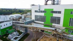 Πανόραμα βιομηχανικού κτηρίου με τη τοπ άποψη κηφήνων στοκ φωτογραφίες με δικαίωμα ελεύθερης χρήσης