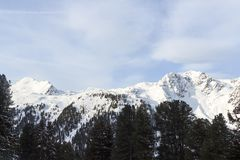 Πανόραμα βουνών με το χιόνι, τα δέντρα και το μπλε ουρανό το χειμώνα στις Άλπεις Stubai Στοκ Εικόνα
