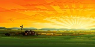πανόραμα βραδιού επαρχίας ελεύθερη απεικόνιση δικαιώματος