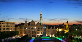 Πανόραμα βραδιού των Βρυξελλών Στοκ Εικόνες