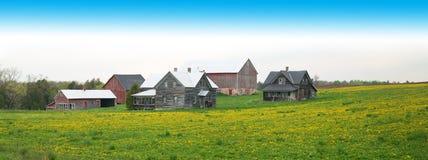 Πανόραμα γαλακτοκομικών αγροκτημάτων του Ουισκόνσιν, έμβλημα Στοκ εικόνα με δικαίωμα ελεύθερης χρήσης