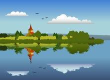 Πανόραμα ενός νησιού με μια εκκλησία ελεύθερη απεικόνιση δικαιώματος