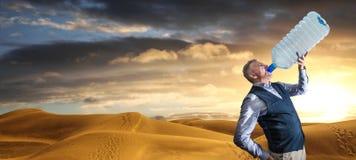 Πανόραμα ερήμων των αμμόλοφων στο ηλιοβασίλεμα με την κατανάλωση ατόμων στοκ εικόνα