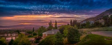 Πανόραμα ηλιοβασιλέματος στην κοιλάδα της Γιούτα, Γιούτα, ΗΠΑ Στοκ εικόνα με δικαίωμα ελεύθερης χρήσης