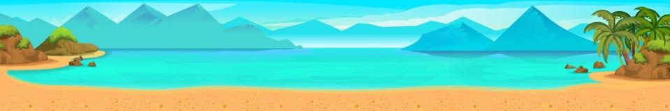 Πανόραμα θάλασσας παραλία τροπική Διανυσματική ανασκόπηση Στοκ Εικόνα