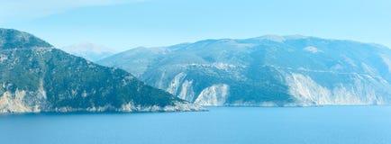 Πανόραμα θερινής θάλασσας (Ελλάδα, Kefalonia) Στοκ Εικόνες