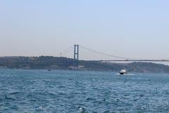 Πανόραμα Ιστανμπούλ και Βόσπορος πανοραμική όψη της Κωνσταντινούπολης Η Ευρώπη συναντά την Ασία στη Ιστανμπούλ Οριζόντιο πανόραμα Στοκ Εικόνες