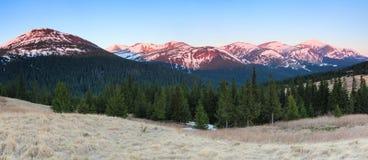 Πανόραμα με τα βουνά Η κορυφή των λόφων που καλύπτονται με το χιόνι Ο χορτοτάπητας με την ξηρά χλόη Μαγική δασική ανατολή Στοκ Εικόνες