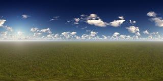 Πανόραμα μιας ηλιόλουστης ημέρας με τον ορίζοντα βουνών διανυσματική απεικόνιση