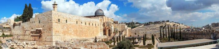 Πανόραμα - το μουσουλμανικό τέμενος Al-Aqsa στο ναό τοποθετεί, Ιερουσαλήμ Στοκ Εικόνα