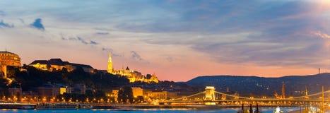 Πανόραμα νύχτας της Βουδαπέστης Στοκ φωτογραφία με δικαίωμα ελεύθερης χρήσης