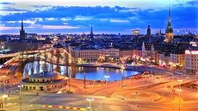 Πανόραμα νύχτας της Στοκχόλμης, Σουηδία απόθεμα βίντεο